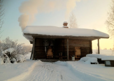 Kumpusen savusauna / Smoke sauna in winter
